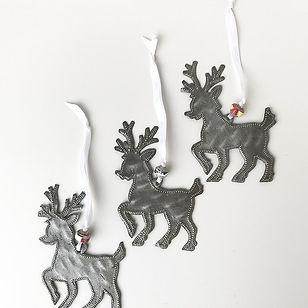 Market Haiti reindeer Christmas ornaments. Handmade in Haiti.
