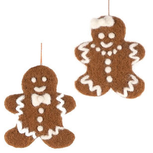 Mayan Hands gingerbread ornaments. Hand felted and fair trade. https://www.mayanhands.org/collections/holiday