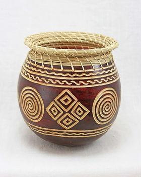 Rafiki Foundation Gourd Basket. Handmade by widows in Africa.