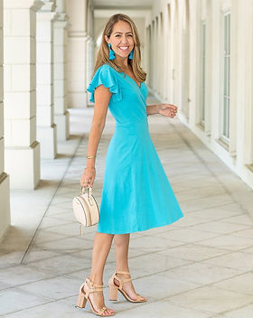 Elegantees Petunia Dress in Cerulean Blue.  Ethically Made in Nepal by Survivors of Human Trafficking. https://elegantees.com/collections/dresses