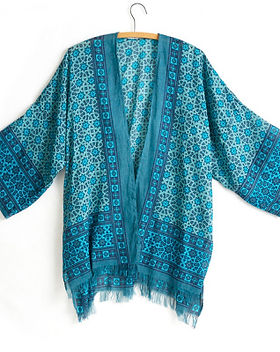Serrv blue kimono. Fair trade. https://www.serrv.org/category/tops