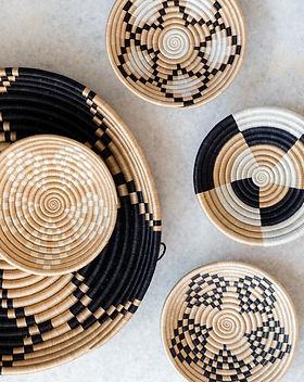 Azizi Life Black and Beige Baskets. Fair trade and handmade in Rwanda.