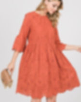 Atonement Design Eyelet Bell Sleeve Rust Colored Dress. Ethically-made in USA.
