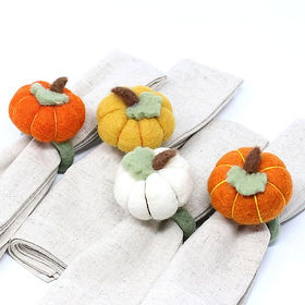 Fair Tribe Pumpkin Napkin Rings. Fair Trade.