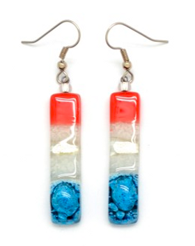 Dunitz & Co USA red, white & blue glass earrings.