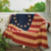 The Village Country Store American flag throw - country style Americana decor.