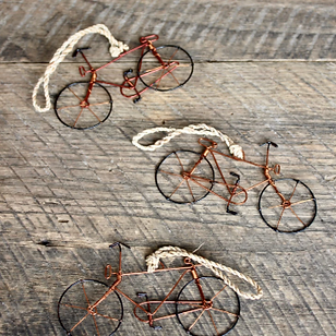 International Blessings Wire Bicycle Ornaments