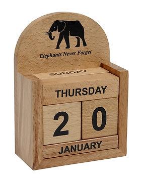 Ten Thousand Villages elephant block calendar for desk top. Fair trade. https://www.tenthousandvillages.com/stationery