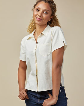 Made Trade Linen Short Sleeve Button Down Shirt. Ethically-made. https://www.madetrade.com/collections/tops/products/poplinen-becky-linen-short-sleeve-button-down