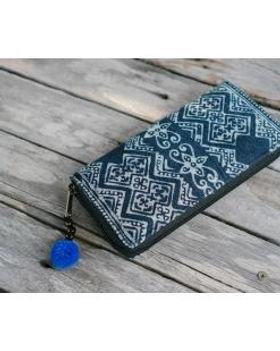 The Lemonade Boutique Blue Batik Zipper Wallet Fair Trade.