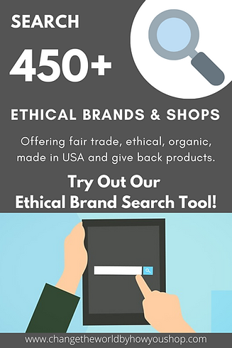 Ethical Brand Search Tool: Custom Search through 450+ Brands & Shops Offering Fair Trde, Ethical, Organic, Made in USA and Give Back Products.