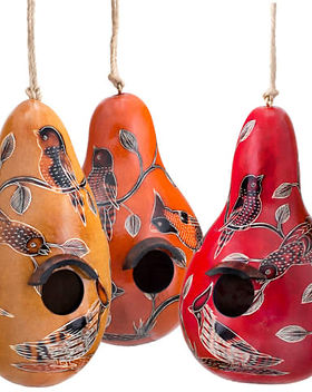 Lucuma Designs Gourd Birdhouses. Fair Trade. Handcrafted by artisans in Peru.