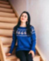 Azerbaijani Socks Blue Sweater Handknit in Azerbaijan.