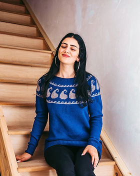 Azerbaijani Socks Blue Sweater Handknit in Azerbaijan.