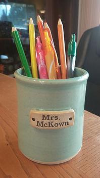 MudLOVE custom tumbler pencil holder for teachers.