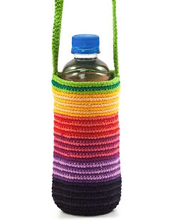 Mayan Hands fair trade crocheted water bottle holder. https://www.mayanhands.org/collections/small-accessories