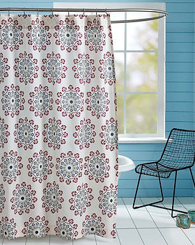 The Village Country Store Antiqua shower curtain. Sustainably- made