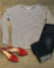 Adored Boutique long sleeve organic stripe top. Ethically-made. https://www.adoredboutique.com/