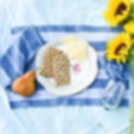 Education and More blue and white striped handwoven placemats.