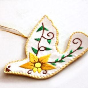 Persona Grata Goods Embroidered Peace Dove Ornament.