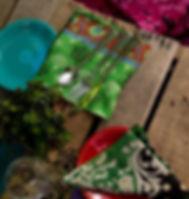 Sari Bari kitchen napkin sets. Made from upcycled saris.