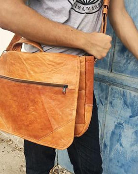 2nd Story Goods Leather Messenger Bag.  Handcrafted in Haiti.