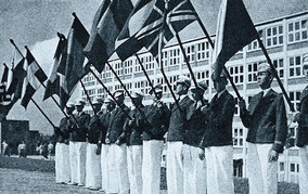 Parade of foreign students of Bata Shool