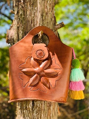 Hand to shoulder Mayan flower handbag