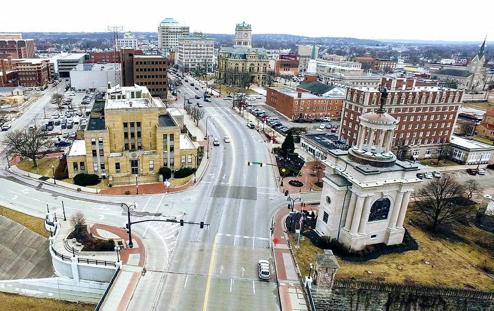 Downtown Hamilton, Ohio from above