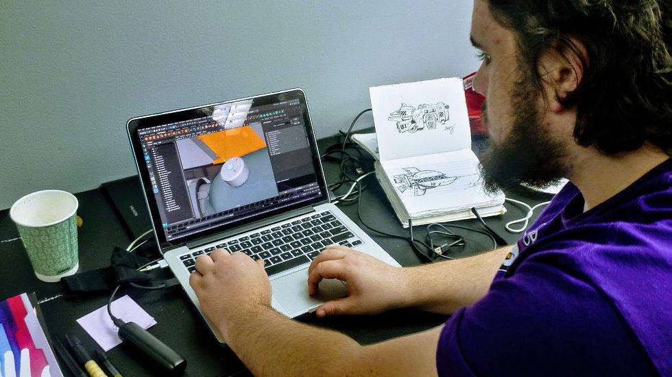 Chris working on modeling ships for Galactic Revolution