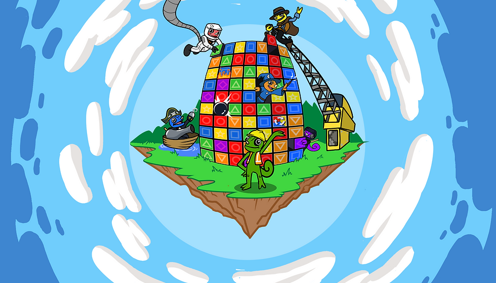 """A floating island in the sky with Leon the Chameleon and his """"Chameleon Cousins"""" building a Collapsus block tower"""