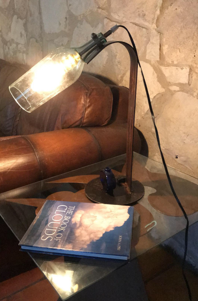 Industrial style bottle lamp