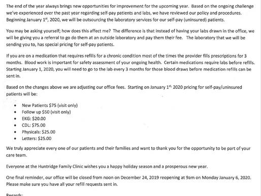 New Service Fee Schedule 2020