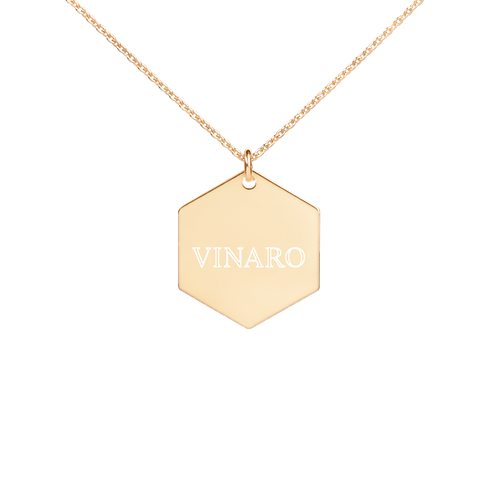 Vinaro Engraved Hexagon Necklace