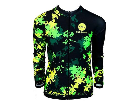 PixmoroFLUOgreenDziecięca ocieplana bluza kolarska/Kids insulated cycling jacket