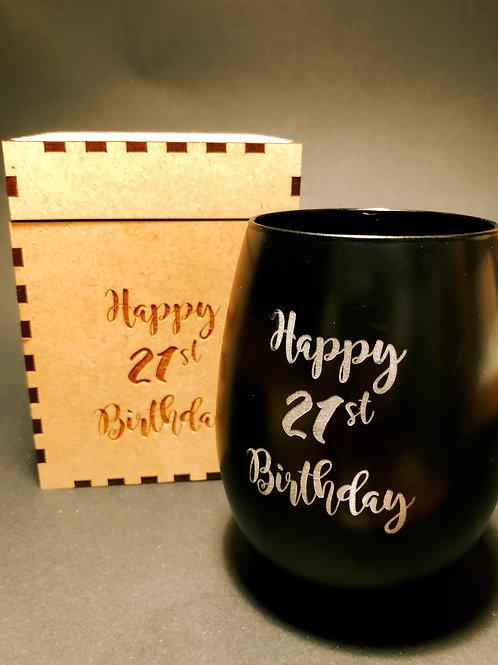 Personalised Single Glass & matching Gift Box