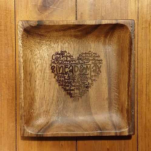 DESIGN YOUR OWN Personalised Acacia Wood Dish - Heart