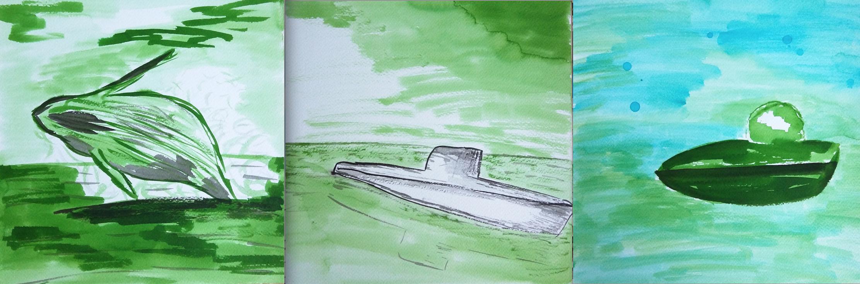Sous-marins et baleine verts