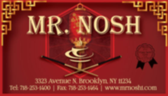 Mr Nosh, Mr Nosh Business Card, Glatt Kosher Restaurants , Kosher Chinese In Brooklyn