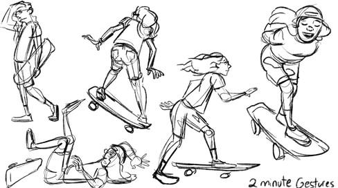 Skater Girl - 2 Minute Gestures