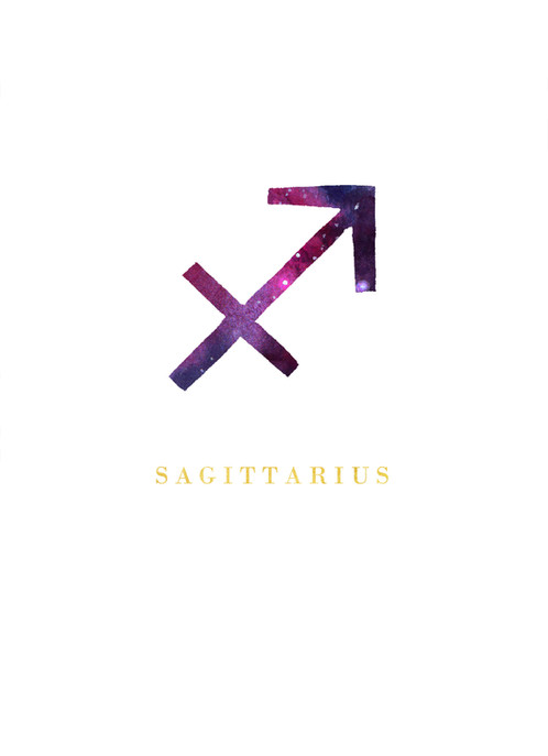 Sagittarius Zodiac Symbol Watercolour Illustration