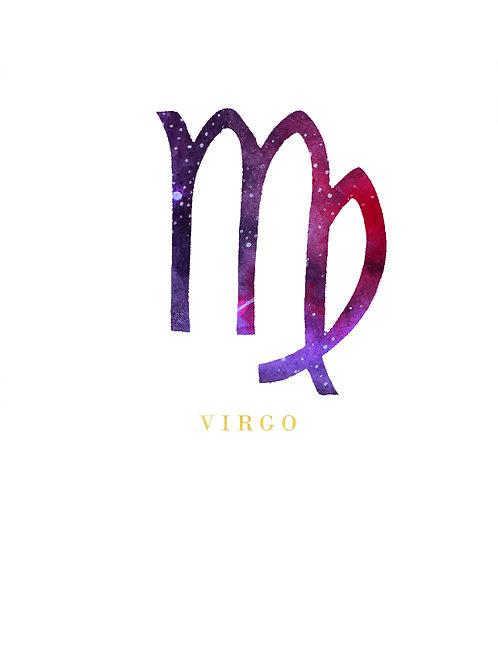 Virgo Zodiac Symbol Watercolour Illustration