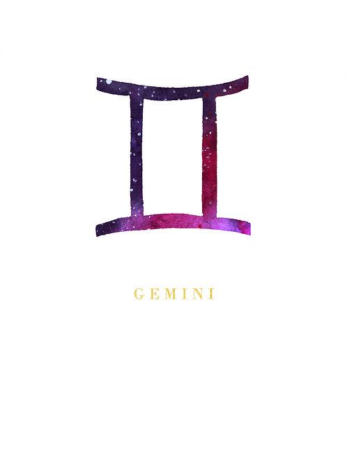 Gemini Zodiac Symbol Watercolour Illustration