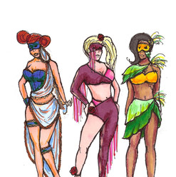 Sleazy Broads costume sketch by Wes Crain