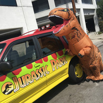 Even dinosaurs want to pose with the car