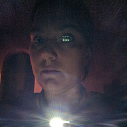 When you are wearing all black and walking around a mausoleum headlamps (on your head or around your neck) are necessary. Bonus Points for when they make you look like a cyborg (Wicked Lit)