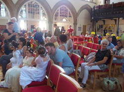 Participants entering the Church