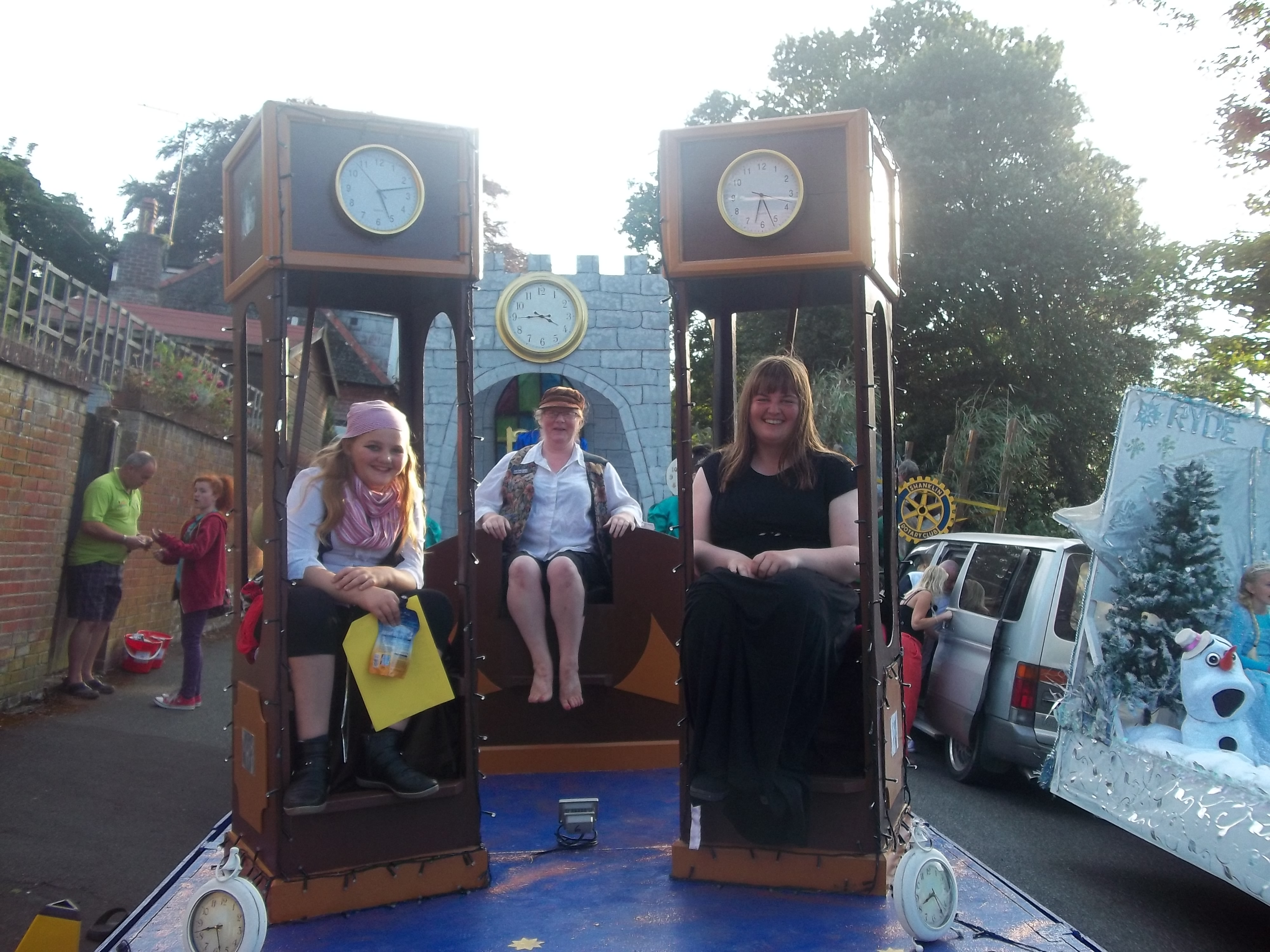 Shanklin Carnival-  Ventnor float with committee and friend