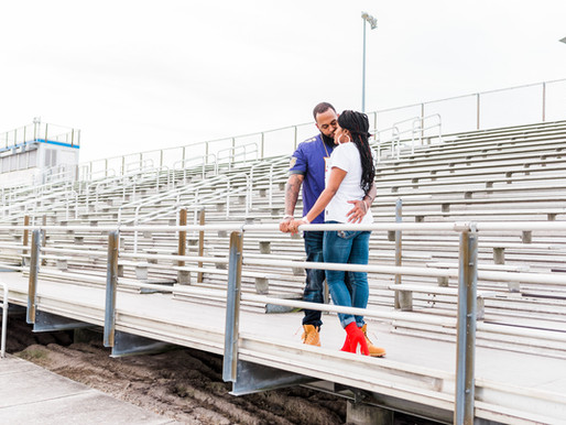Virginia Beach Football Field Engagement Session | Desirae + Dontez