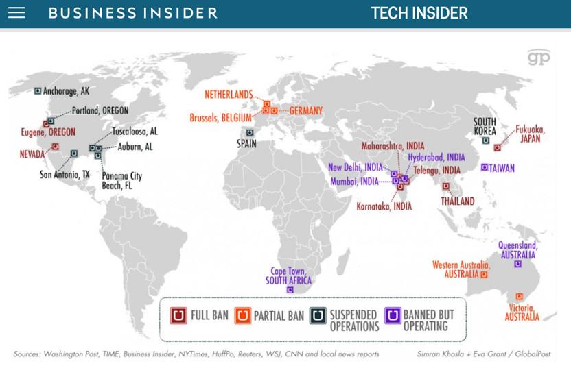 Uber Illegal Locations Worldwide